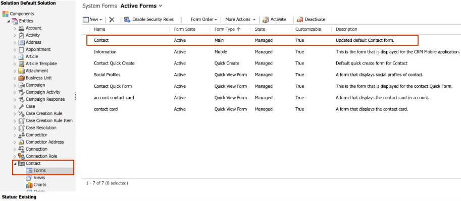 Open the contact forms entity and select the contact form you like to modify.