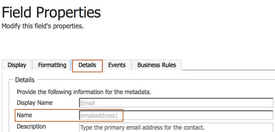 The name of the email input is used later when adding a new event to the input field.