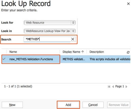 Select the /data.mill validation web resource created in the installation guide and add it.