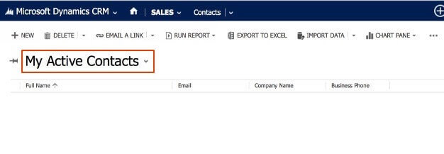 Log into your MS Dynamics CRM and switch to the contact view.