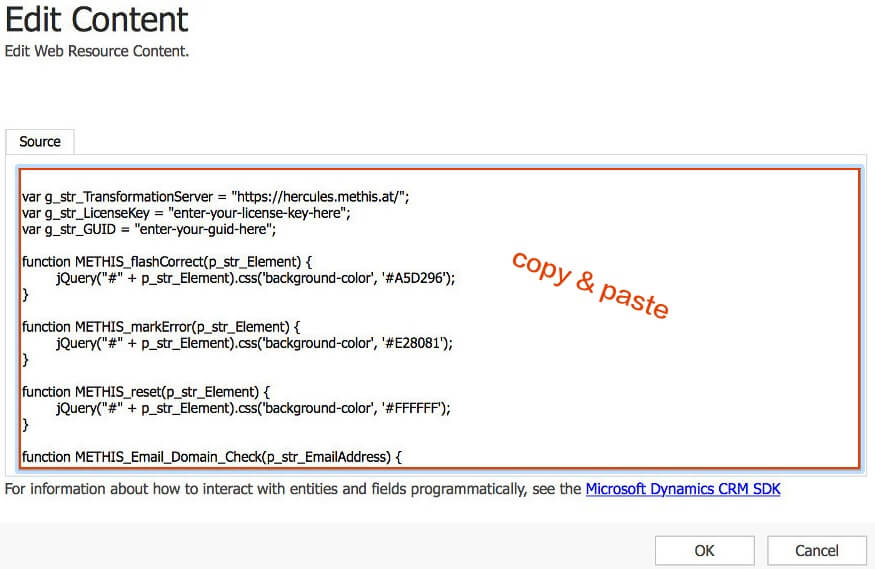 Copy & paste the downloaded javascript code.
