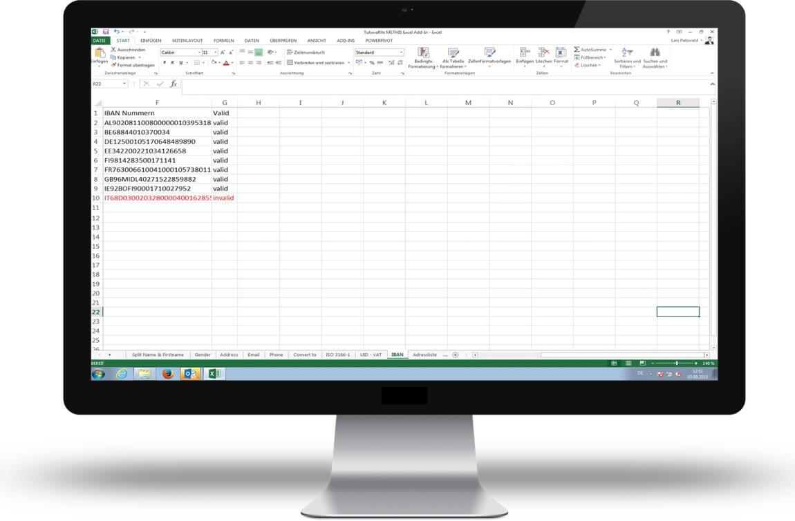 Mit /data.mill for Excel überarbeitetes Excel Arbeitsblatt